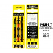 "PHLiPBiT Square/Phillips Double End Impact Drive Bit 4"" (3pc Set)"